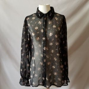 Topshop Beaded Collar Black Floral Button down